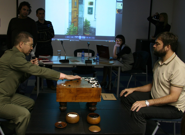 The President of The Go Russian Federation played Go with a visitor on an ancient Japanese goban