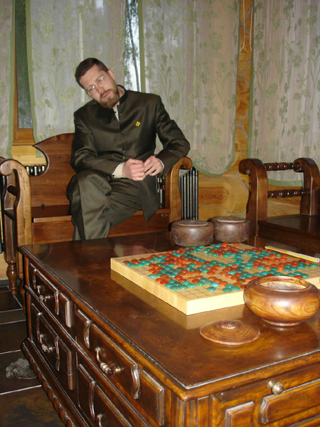 Go Game in Russia. Igor Grishin, the President of The Go Federation, plays a Go game